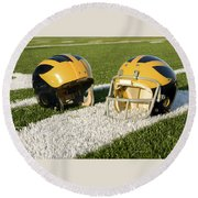 Wolverine Helmets From Different Eras On The Field Round Beach Towel
