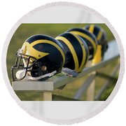 Wolverine Helmets On A Bench Round Beach Towel