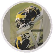 Wolverine Helmets On A Football Bench Round Beach Towel