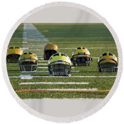 Wolverine Helmets Throughout History On The Field Round Beach Towel