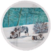 Wolves In The Wild Round Beach Towel
