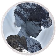 Woman And A Snowy Mountain Round Beach Towel
