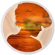 Woman And A Sunset Round Beach Towel