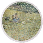 Woman And Goat Round Beach Towel