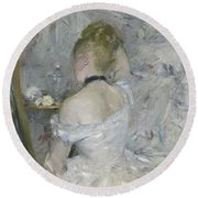 Woman At Her Toilette Round Beach Towel