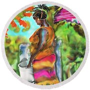 Woman At The Well Round Beach Towel