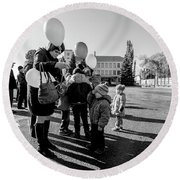 Round Beach Towel featuring the photograph Woman Balloon And Boy by John Williams