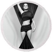 Woman Draped In Black Cloth Round Beach Towel