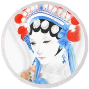 Woman From Chinese Opera With Tattoos -- The Original -- Asian Woman Portrait Round Beach Towel