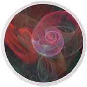 Round Beach Towel featuring the digital art Woman Heart With Moon Shell by Ronda Broatch