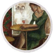 Woman In A Paris Cafe Round Beach Towel