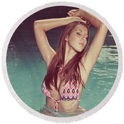 Woman In Bikini In The Water And Retro Look Image Finish Round Beach Towel