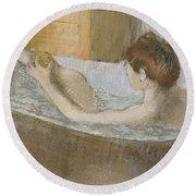 Woman In Her Bath Round Beach Towel