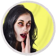 Woman In Horror Makeup Round Beach Towel