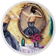 Round Beach Towel featuring the painting Woman In Mirror by Jennifer Beaudet