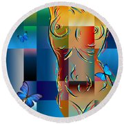 Woman In Nude Collage  Round Beach Towel