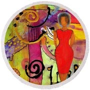 Woman In Red Round Beach Towel