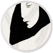 Woman In Shadows Round Beach Towel