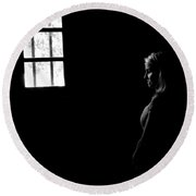 Woman In The Dark Room Round Beach Towel