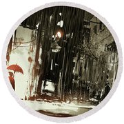 Round Beach Towel featuring the painting Woman In The Destroyed City by Tithi Luadthong