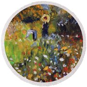 Round Beach Towel featuring the painting Woman In The Garden After Renoir by Michael Helfen