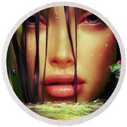 Woman In The Lake  Round Beach Towel