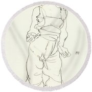 Woman In Underclothes Round Beach Towel