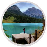 Woman Looking Emerald Lake Yoho National Park British Columbia Canada Round Beach Towel