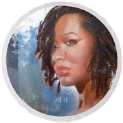 Woman Of Magdala Round Beach Towel by Christopher Marion Thomas