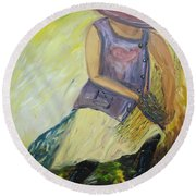 Woman Of Wheat Round Beach Towel