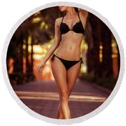 Woman Perfect Body Round Beach Towel
