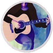 Woman Playing Guitar Round Beach Towel