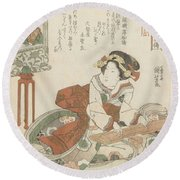 Woman Playing On The Koto, Utagawa Kuniyoshi, 1832 Round Beach Towel