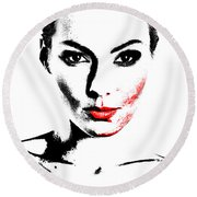Woman Portrait In Art Look Round Beach Towel