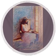 Woman Reading By Window Round Beach Towel