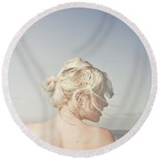 Round Beach Towel featuring the photograph Woman Relaxing On The Beach by Jorgo Photography - Wall Art Gallery