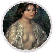 Woman Semi Nude Round Beach Towel