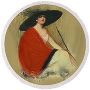 Woman Wearing Hat Round Beach Towel