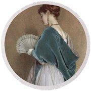 Woman With A Fan Round Beach Towel