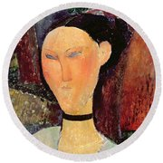 Woman With A Velvet Neckband Round Beach Towel