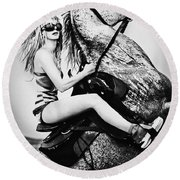 Woman With A White Horse Round Beach Towel
