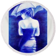 Round Beach Towel featuring the painting Woman With An Umbrella Blue by Bob Baker