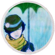 Round Beach Towel featuring the painting Woman With Green Umbrella by Bob Baker