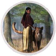Round Beach Towel featuring the digital art Woman With Mountain Lion by Daniel Eskridge