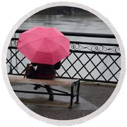Woman With Pink Umbrella. Round Beach Towel