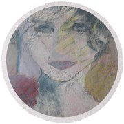 Woman's Portrait - Untitled Round Beach Towel