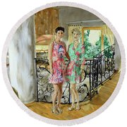 Women In Sunroom Round Beach Towel