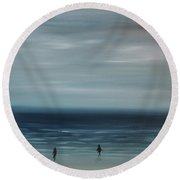 Round Beach Towel featuring the painting Women On The Beach by Tone Aanderaa