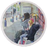 Women Texting On Christchurch Station Round Beach Towel