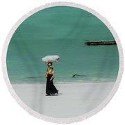 Women Worker Round Beach Towel